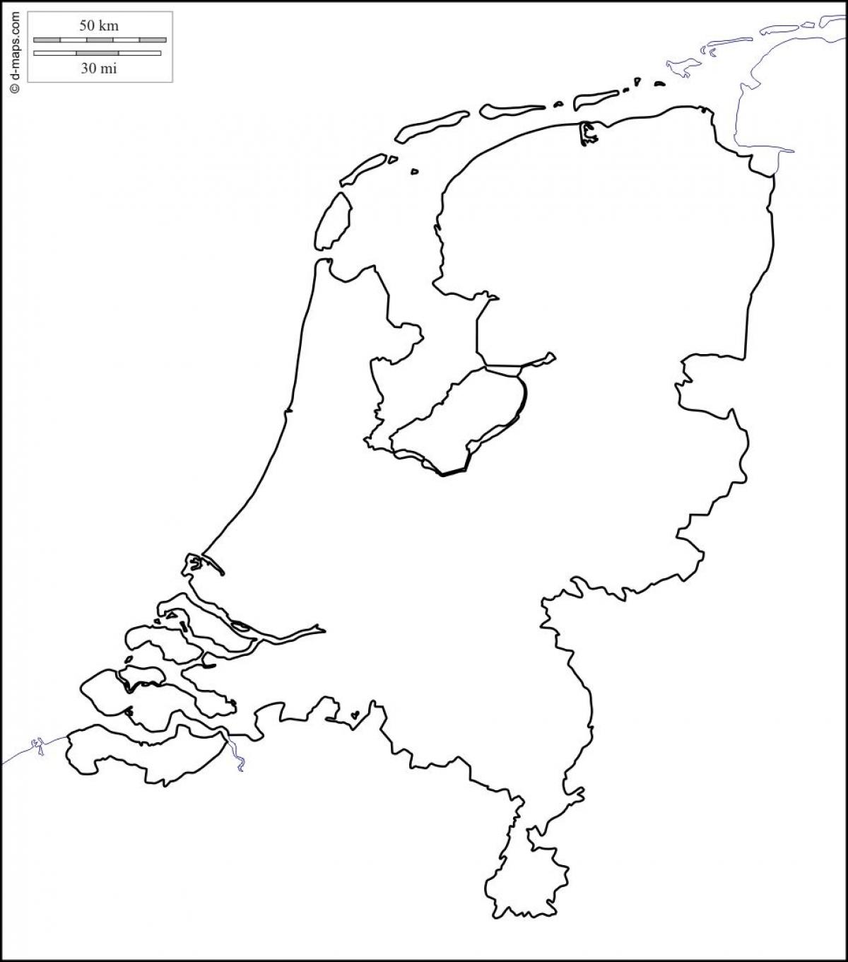 Holandia Mapa Kontur Mapa Konturowa Holandii Europa Zachodnia